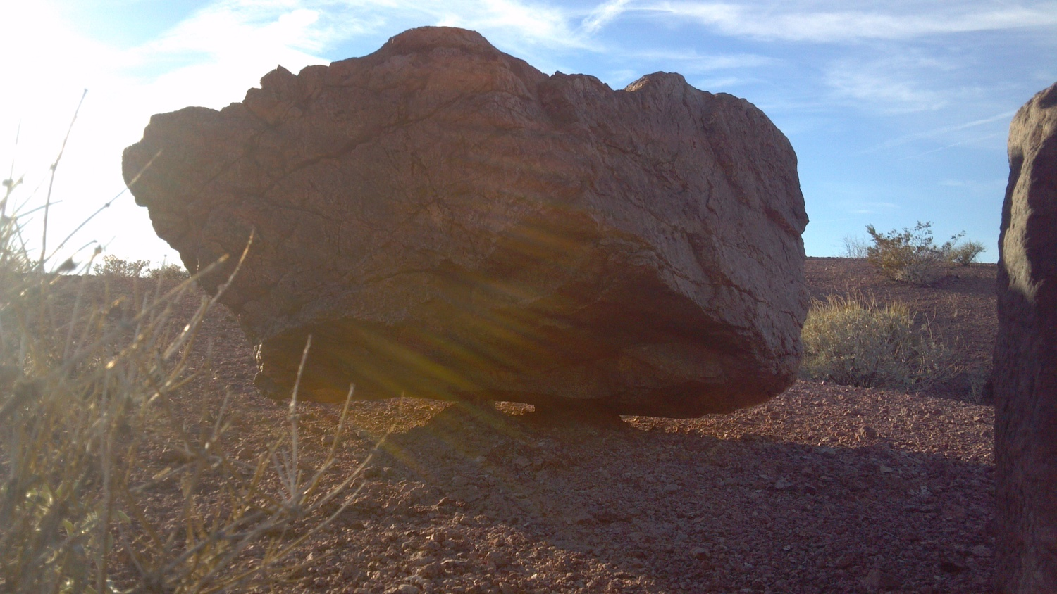 This multi ton boulder appears to defy gravity! Bullhead City Az.