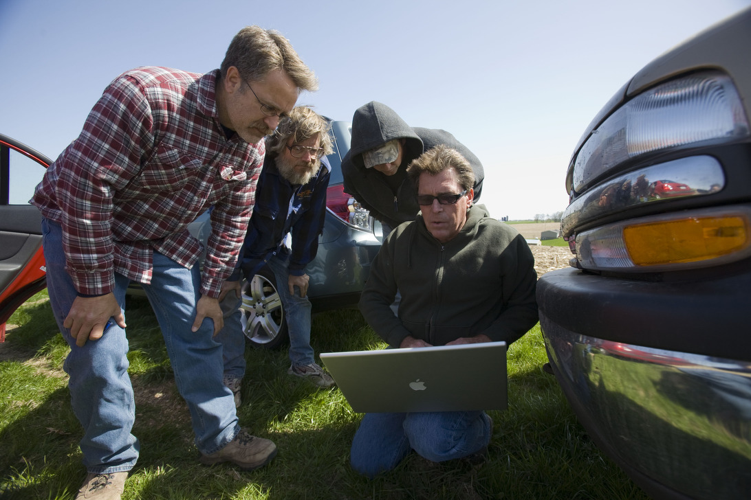 You know things are serious when the computers are in the field.