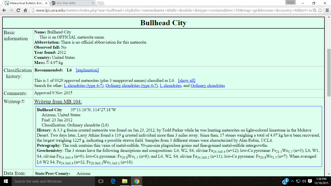 Here's a partial screen capture of the write up for Bullhead City. The full entry can be seen here; http://tiny.cc/utc86x