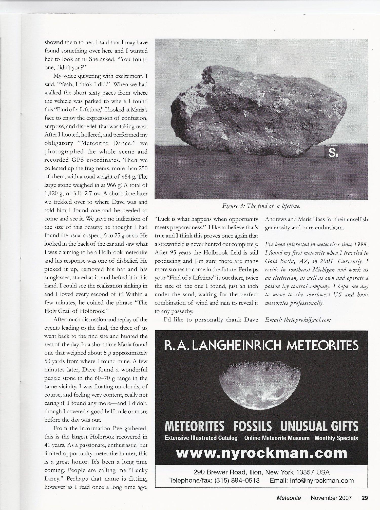 Meteorite Magazine Article by Larry Adkins November 2007